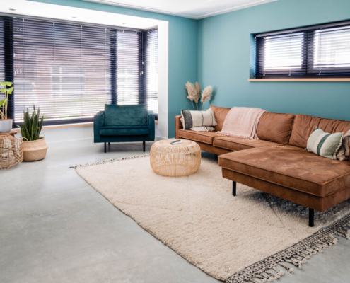 betonvloer luxe woonkamer